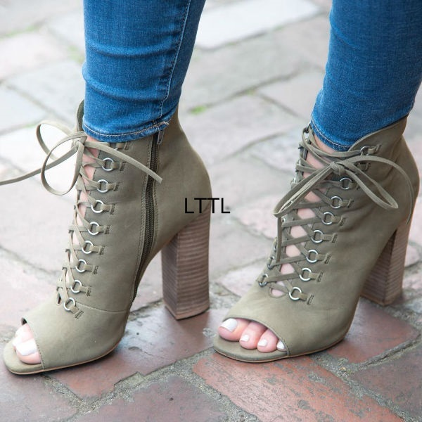 42a31361a900 Glamorous Olive Green Cross Strap Block Heel Ankle Boots Women Square Peep  Toe Chunky High Heel Lace Up Sandal Booties