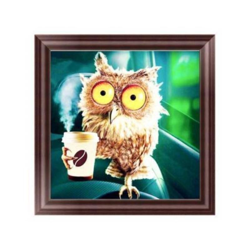 DIY 5D Diamond Painting Owl Beaded Embroidery Artesanato Stitch Kit Kat Hobby Decoracion Hogar Sticker Fantasy Wall Decor