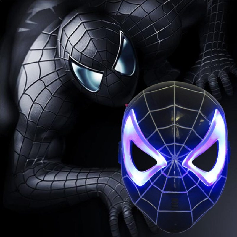 free shipping led glowing lighting mask avengers black spiderman figure party mask halloween cosplay costume accessory boy gift - Animated Halloween Figures