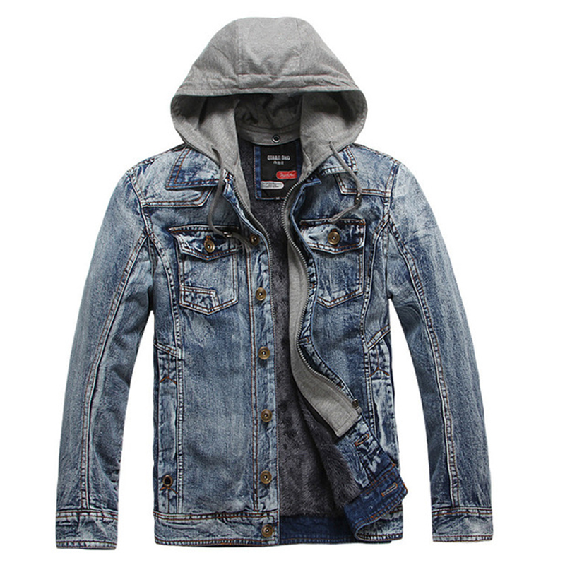 Winter Thick Fleece Denim Jacket Men Jeans Coat Cargo Jackets Streetwear Casual Vintage Biker Coat for Men Blue S117-in Jackets from Men's Clothing