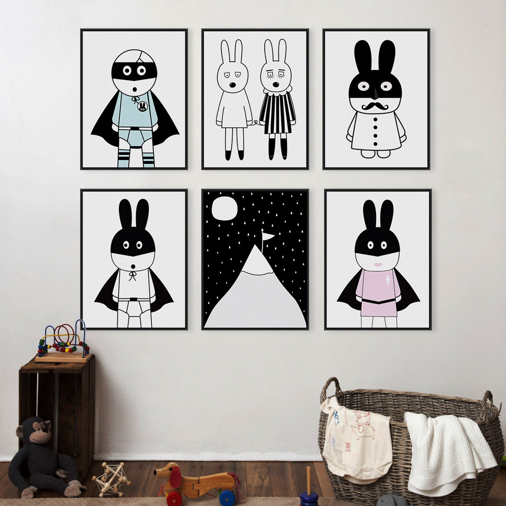 Black white kawaii animals canvas art poster modern for Black and white mural prints
