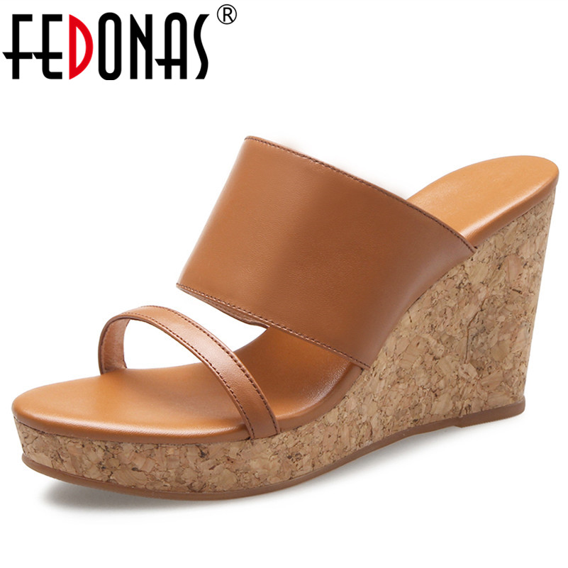 FEDONAS Rome Style Women Genuine Leather Shoes Woman Wedges High Heeled Summer Sandals Classic Buckles Casual