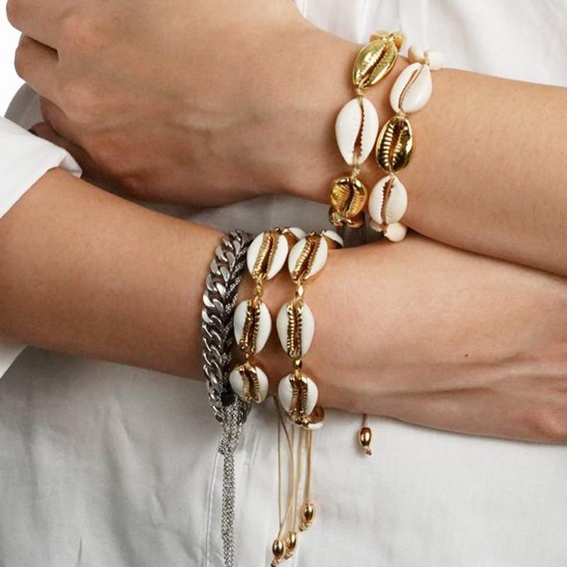 New Wholesale NATURAL PUKA SHELL BRACELET boho fashion beach GOLD SHELL cowry seashell women bracelets jewelry 2018