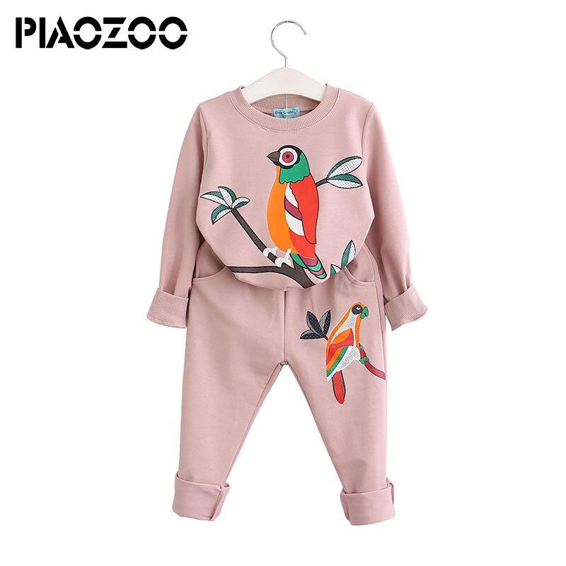 Girl cute clothes long sleeve children Cotton Top bird decoration 2 pcs kids clothing sets 2018 casual children tracksuit P20