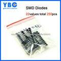 22 valores totais 260 pcs M1 M2 M4 M7 S2M RS1M US1M ES1D SS110 SS14 SS34 LL4148 etc. Retificador Kit Sortido diodos