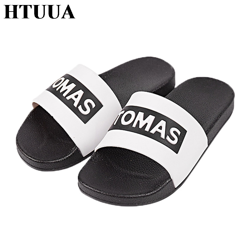 HTUUA Flat Slippers Women Men Unisex Non-slip Indoor Bathroom Home Slippers Outdoor Flip Flops Beach Shoes Summer Slides SX976