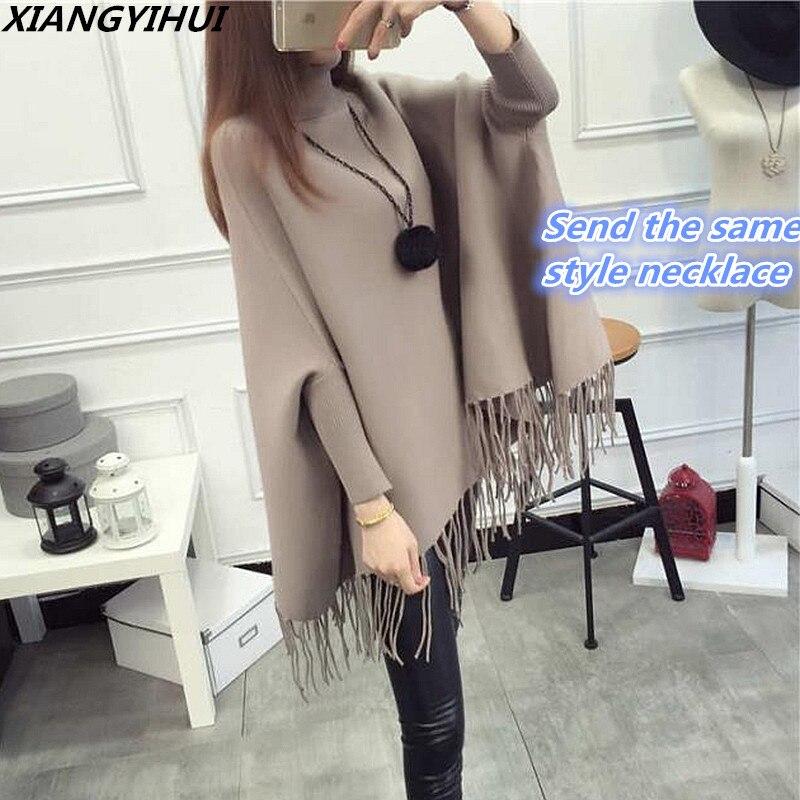 2017 Winter Frauen Rollkragen Pullover Koreanische Mode Plus Größe Lose Wolle Batwing Pullover Damen Gestrickte Ponchos Und Capes Mantel Einen Effekt In Richtung Klare Sicht Erzeugen