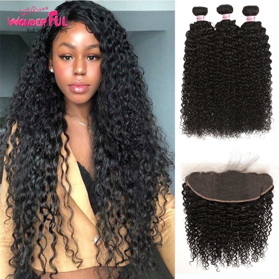 Brazilian Kinky Curly Bundles With Frontal 13X4 Lace Frontal And Bundles 8 28 30 Inch Human