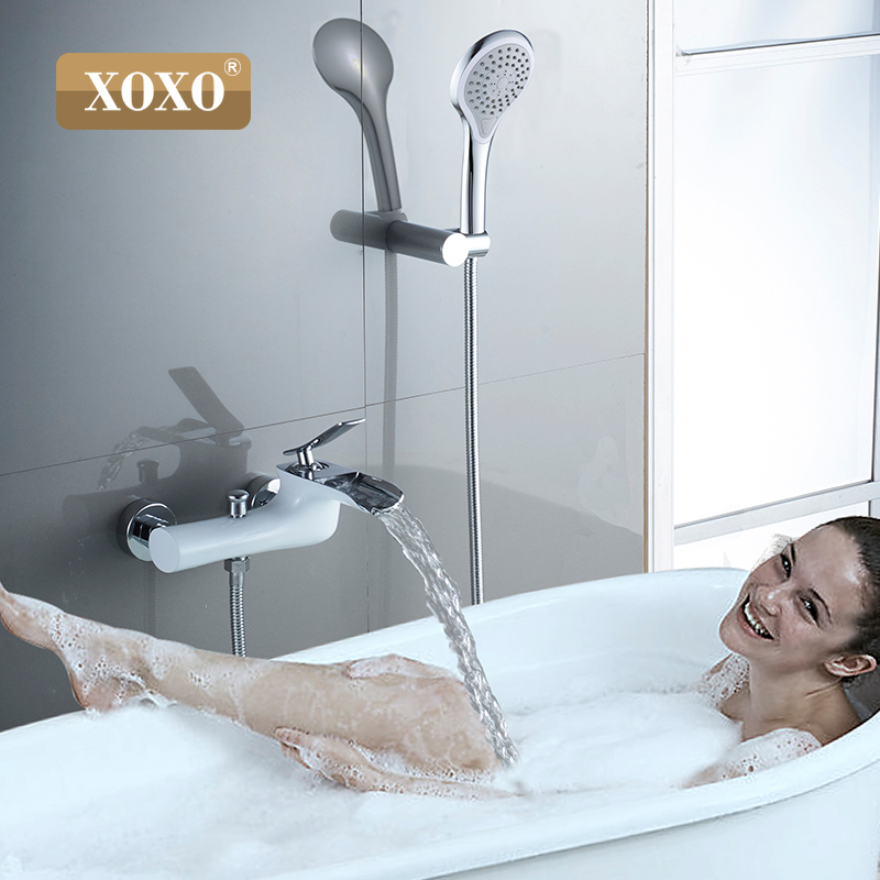 XOXO Bathtub faucet chromium copper shower mixer tap single processing dual control shower bathroom faucet 83003W free shipping polished chrome finish new wall mounted waterfall bathroom bathtub handheld shower tap mixer faucet yt 5333