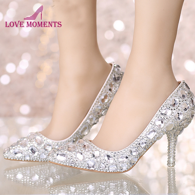 Perfect Bride Crystal Wedding Shoes Pointed Toe New Design Women Pumps Silver Rhinestone New Design Party Prom Heels Big Size new indoorpool design