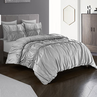 Yimeis Faux Silk Bed Linen Pure Gray Color Luxury Bed Cover Jacquard Craft King Size Bedding Sets BE37001