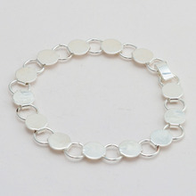 1pcs Silver Plated Blank Pad Bangle Bracelet with 10mm Glass Cabochon DIY 22cm Chain Bracelet
