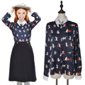 Castle Vintage Navy Blue Long Sleeve Cat Chiffon Blouse White Women Long-Sleeved Blouse Design Cute Cat Embroidered Blouse