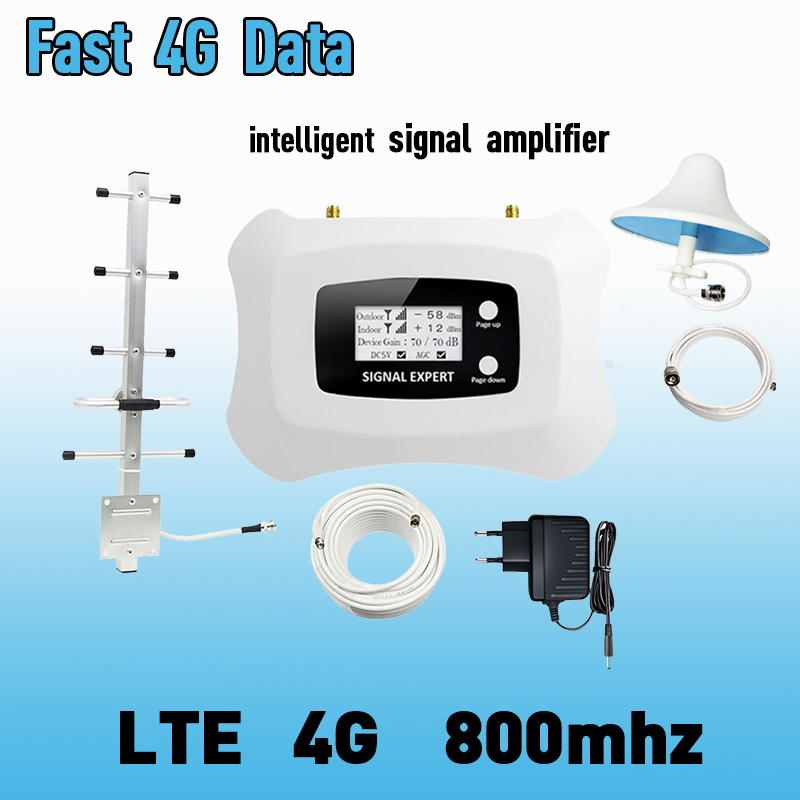 Europe LCD Display 4G LTE 800mhz Cellular Signal Booster 70dB LTE Amplifier LTE Band 20 4G Internet Mobile Repeater Extender