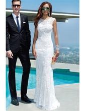 MZY043 White Lace Mermaid Sleeveless Brautkleid Brautkleid Formales Abschlussball-kleid Benutzerdefinierte Größe
