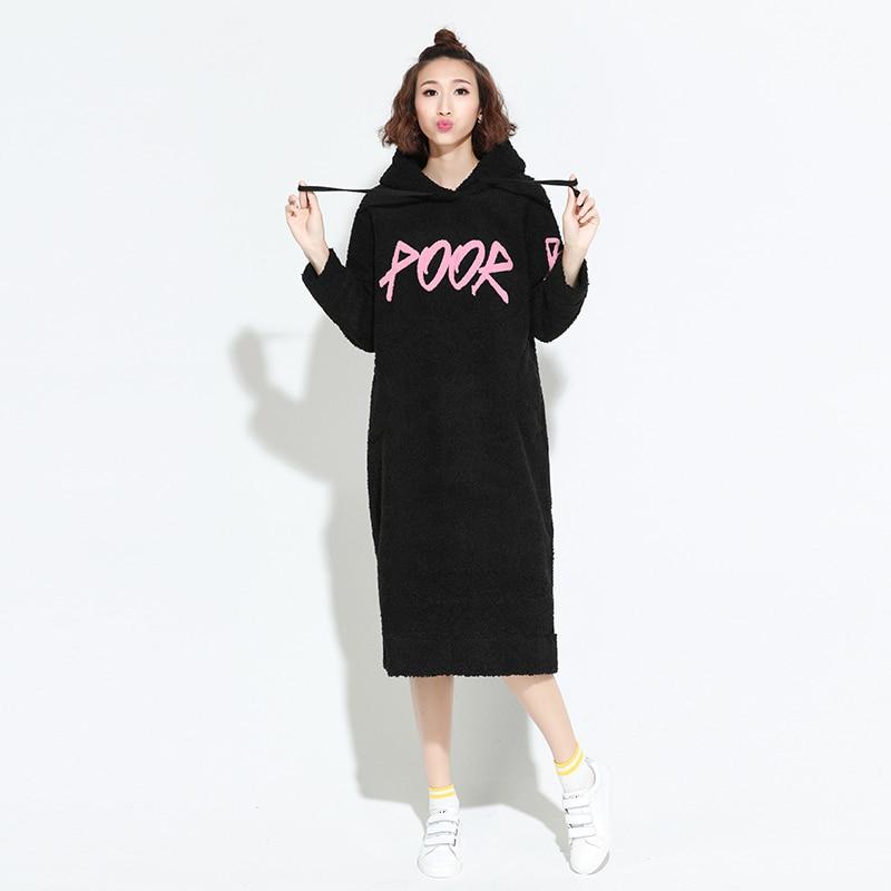 Femmes Black Chaud Casual En pink Robe Lettre Capuche D'agneau Jq190 2017 Mode Garder Laine Féminine Qualité À Automne Épaissir Au Imprimé Hiver Haute YxqH0Ep1
