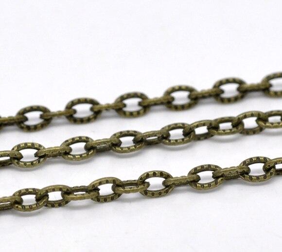 DoreenBeads 10M Bronze Tone Textured Link-Opened Chain 4.5x3mm (B13521), yiwu цена
