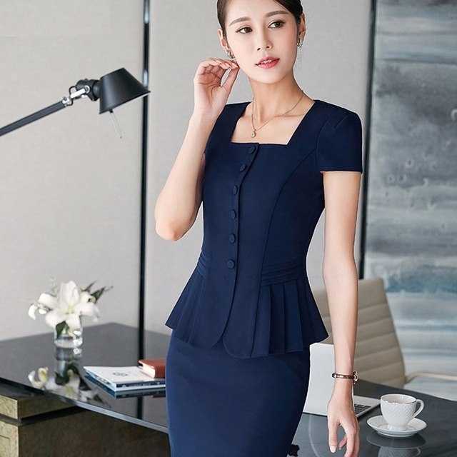 office uniform designs women skirt suits 2017 Summer new professional women work wear 2 piece set blazer+ skirt Slim fashion