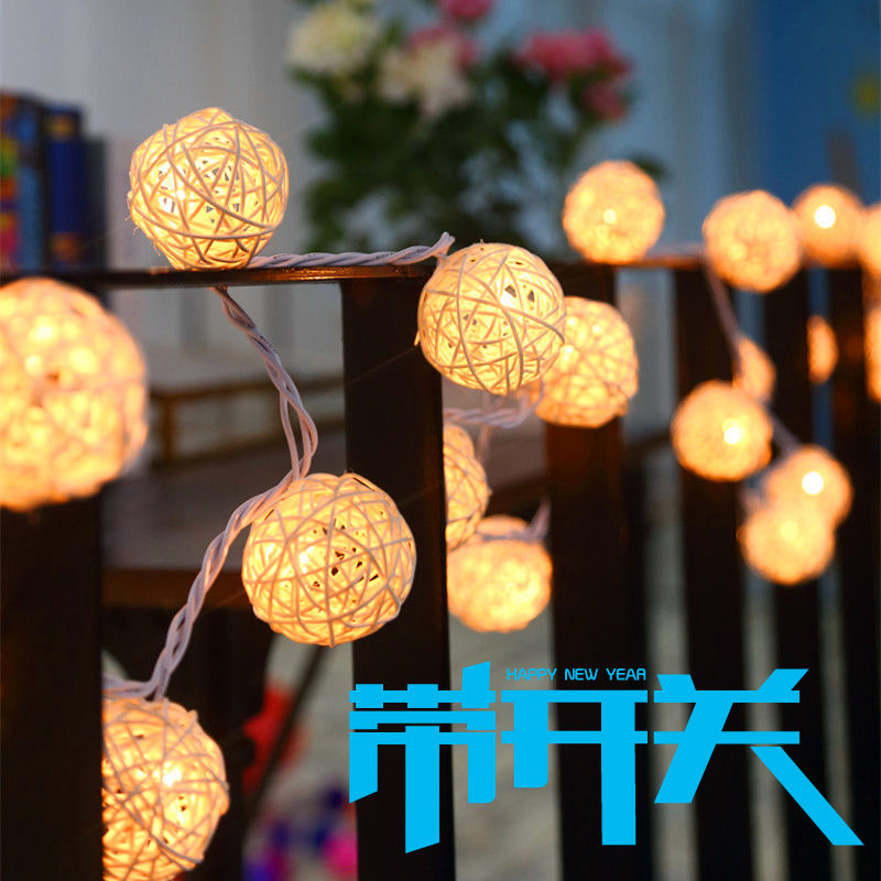 Xmas Fairy String Lights Garland Lamps 4 5m Aa Battery Rattan Lamparas Patio Christmas Indoor Wedding Decor In Lighting Strings From