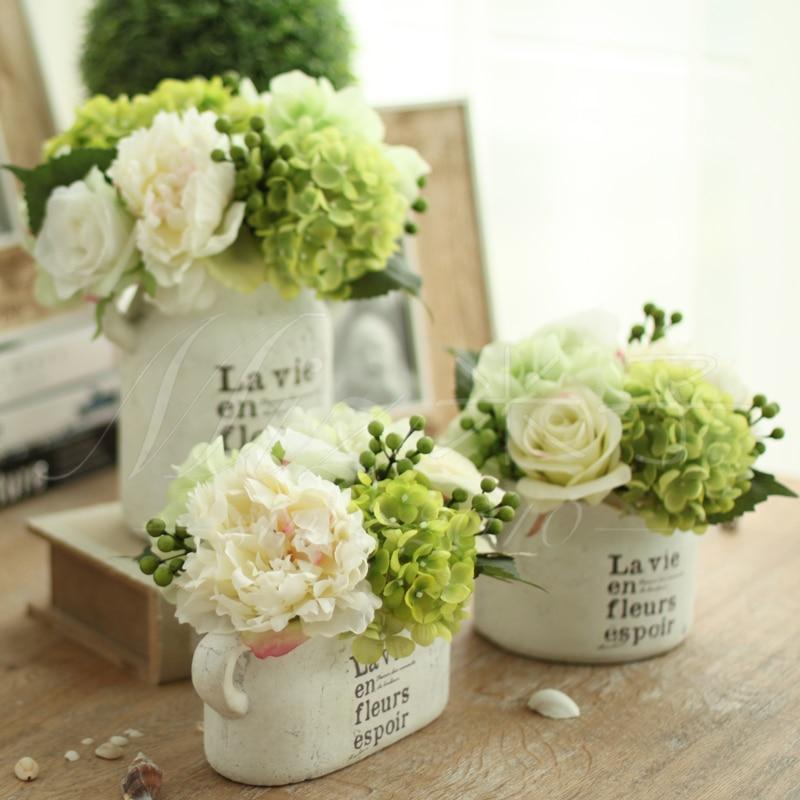 Freshing Green Artificial Hydrangea Berries Vase 1