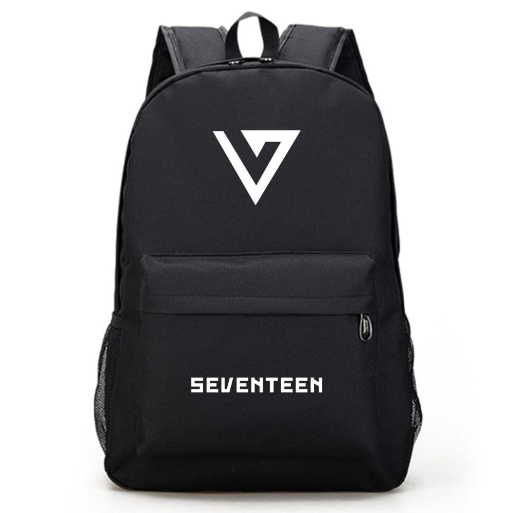 Men's Bags Seventeen 17 Korean Stars Black Backpack Bag School Book Bags Laptop Boys Girls Back To School Gift Casual Luggage & Bags