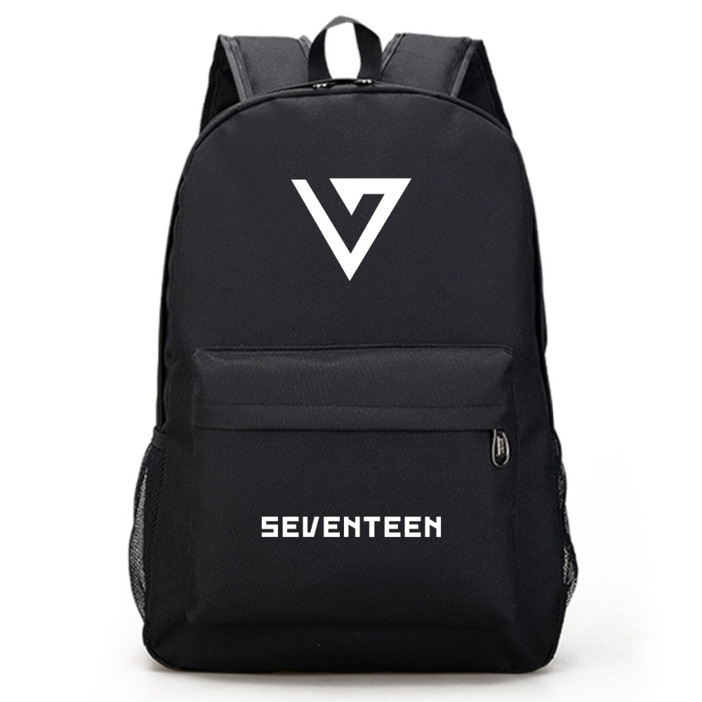 Men's Bags Luggage & Bags Seventeen 17 Korean Stars Black Backpack Bag School Book Bags Laptop Boys Girls Back To School Gift Casual
