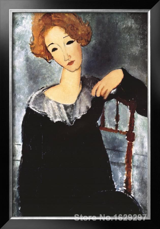Картина рыжая девушка в красном платье