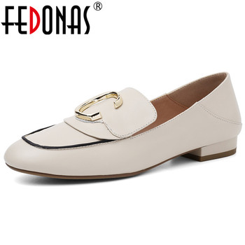 FEDONAS Classic Round Toe Low Heels Women Pumps Shallow Slip on 2019 Spring Summer Genuine Leather Single Shoes Woman Loafers