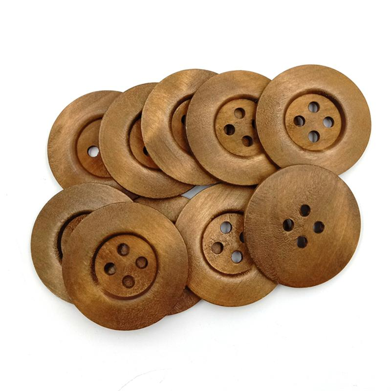 10Pcs 4 Holes <font><b>50MM</b></font> Wooden <font><b>Buttons</b></font> Solid Printing DIY Environmental Small Fresh Round Shape Wide Side Snaps <font><b>Buttons</b></font> Press Studs image