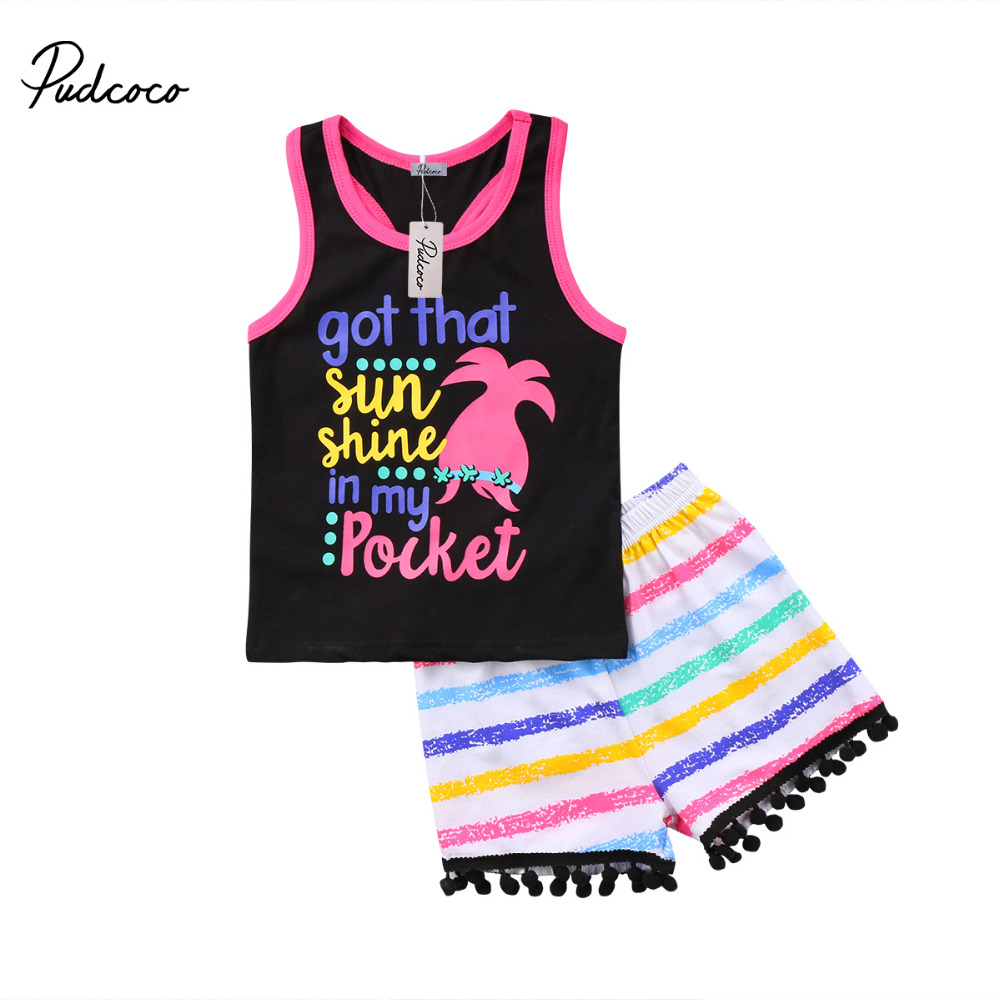 2018 Brand New Toddler Infant Kids Baby Girls Summer Clothes Vest Top Colorful Tassel Shorts 2Pcs Set Sunsuit Causal Outfit 1-6T