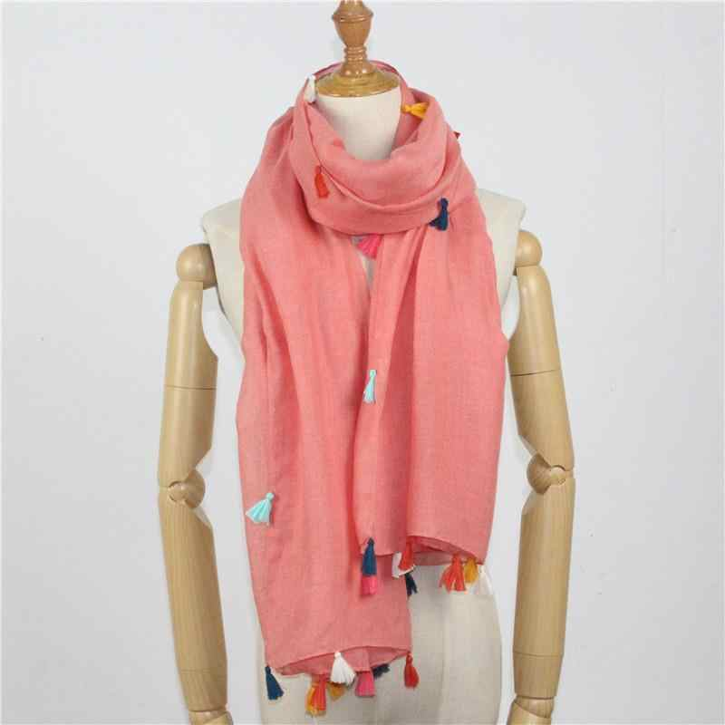 New Fringed Pink Barry Yarn  Autumn Winter Female Fashion Lady Casual Warm Accessories  Long Shawl Blanket Scarf