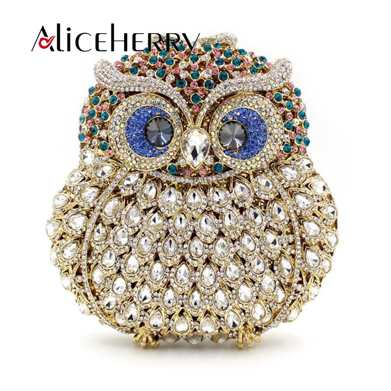 Luxury Brand Women Evening Bags Ladies Owl Shape Handmade Crystal Rhinestone Clutch Bag Female Gold Sliver Color Party Clutches free shipping a15 36 sky blue color fashion top crystal stones ring clutches bags for ladies nice party bag