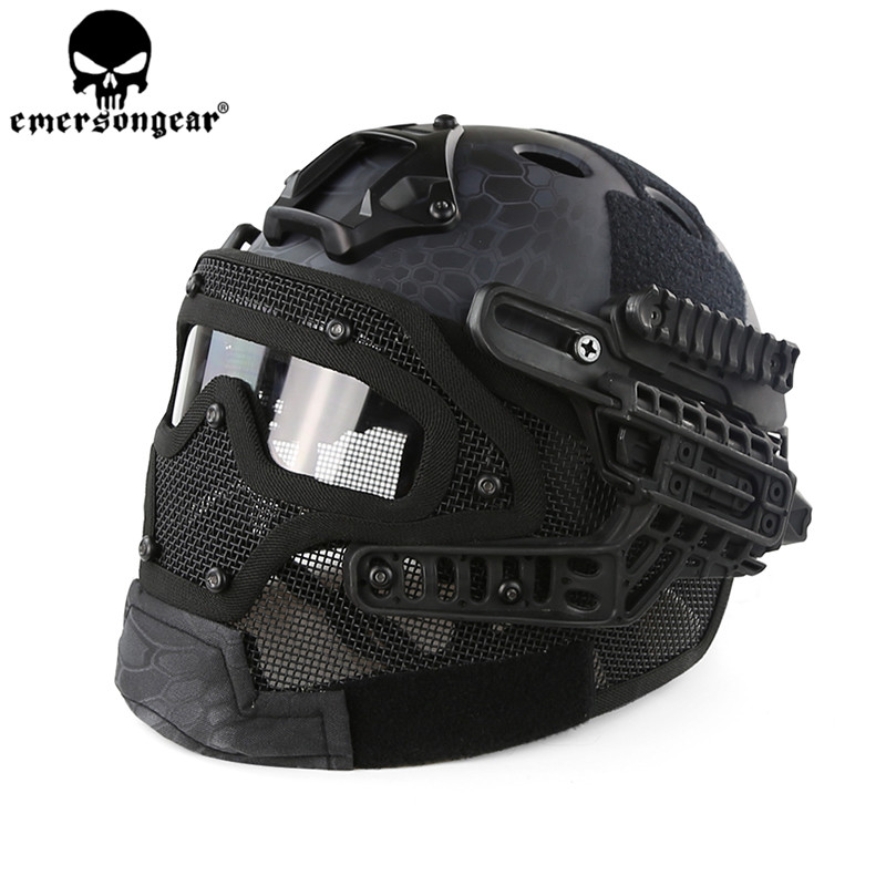 Emerson G4 System/Set PJ Helmet with Overall Protection Glass Mask Airsoft Tactical Multi-function Full Face Helmet BD9197 brand new skull skeleton army airsoft tactical paintball full face protection mask