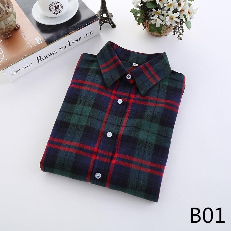 2018 Fashion Plaid Shirt Female College Style Women's Blouses Long Sleeve Flannel Shirt Plus Size Casual Blouses Shirts M-5XL 2