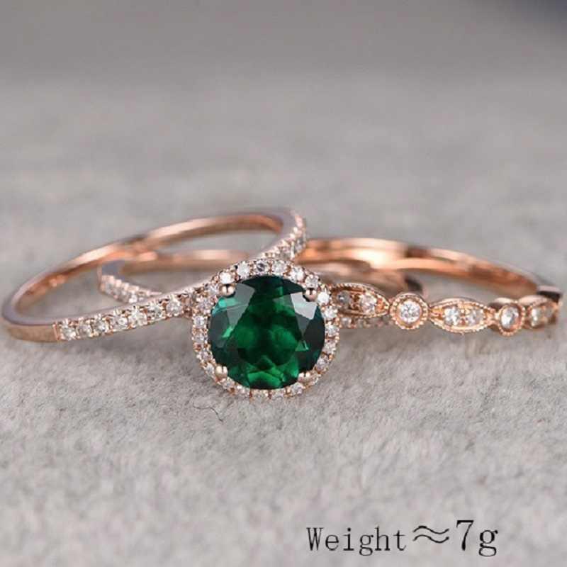 ใหม่คุณภาพสูง 3 ชิ้น/เซ็ตสีเขียวหินคริสตัลแหวนหมั้นคริสตัลแหวน Rose Gold Zircon Vintage เจ้าสาวงานแต่งงานแหวนเครื่องประดับ