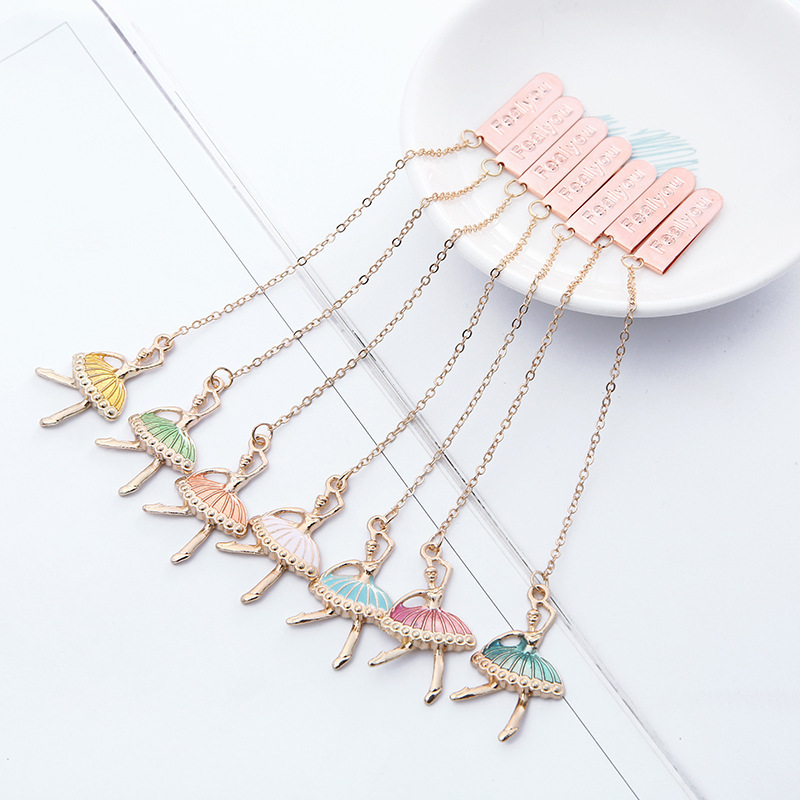 7 Pcs/Set Colorful Ballet Girls Exquisite Metal Pendant Bookmark Cartoon Book Holder Gift Stationery