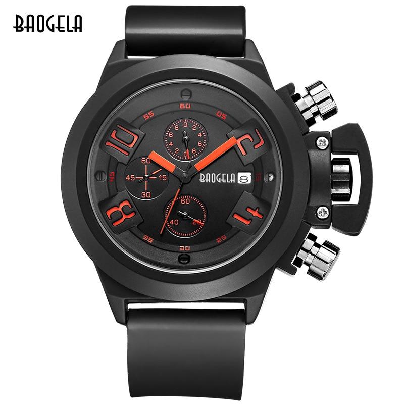 Baogela Mode Herr Quartz Klockor Sport Kronograf Montre Homme Relogio Masculino Silikon Armbandsur för Man Klocka Tid