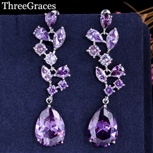 ThreeGraces Elegant Flower Shape Long Dangle Purple CZ Stone Big Water Drop Women Costume Jewelry Earrings For Party ER026