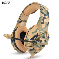 NDJU K1 Bass Gaming Headphone Camouflage PS4 Headset Game Player Earphones Casque With Mic 3 5MM