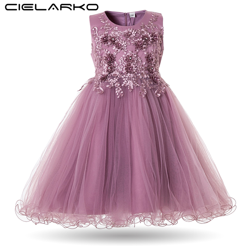 Cielarko Flower Girls Dress Wedding Party Dresses for Kids Pearls Formal Ball Gown 2018 Evening Baby Outfits Tulle Girl Frocks
