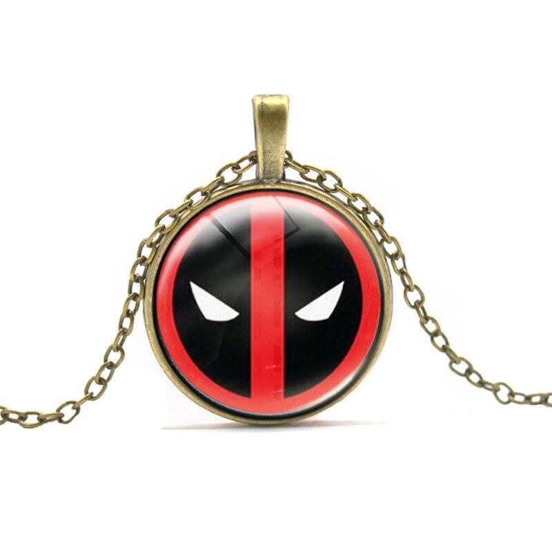 New Designer DEADPOOL Necklace Boy DC font b Anime b font Glass Cabochon Dome Necklaces Cartoon