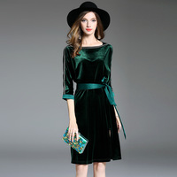 2018 Spring Winter Vintage Velvet Dress With Sashes Solid Color Slim Round Neck Dresses New Style