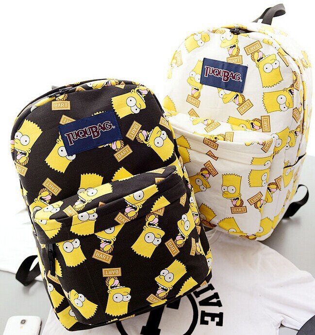 2014 new printing the Simpson bart cartoon backpack fashion lovers  waterproof Jan Sport student school book bag brand backpacks-in Backpacks  from Luggage ... f738109a9aa40