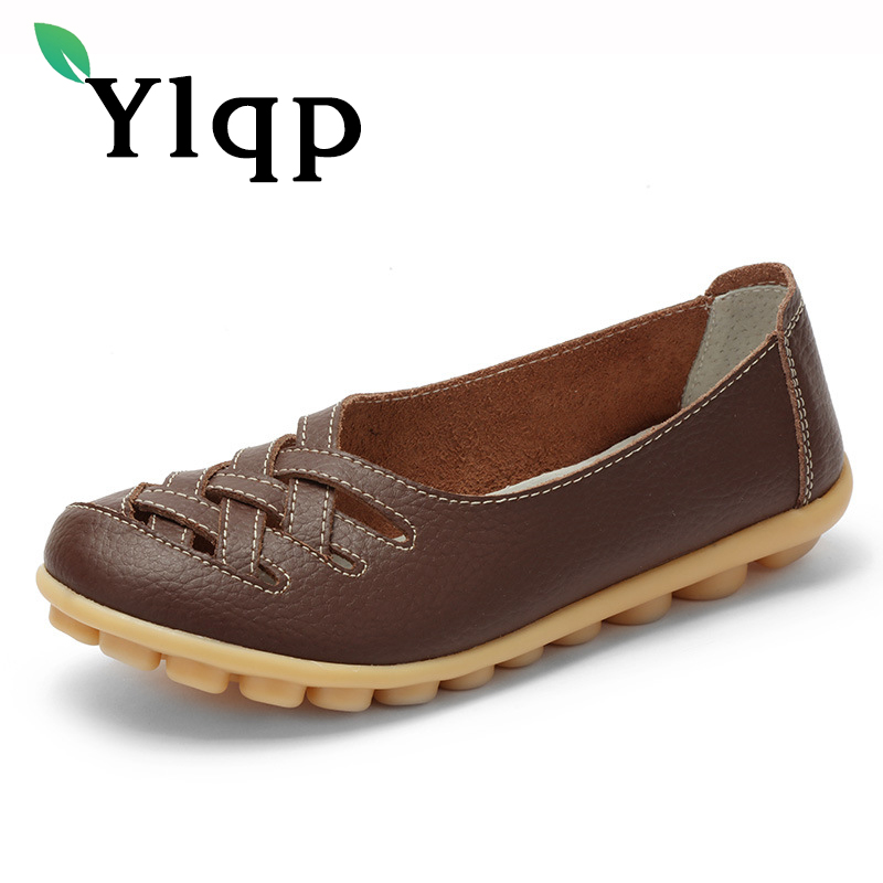 Ylqp Brand Large Size Flat Bottom Mother Shoes Female Hollow Out Comfortable Breathable Summer Shoes Women Soft Flats Zapatos aiyuqi 2018 new women s genuine leather shoes casual flat bottom breathable wear comfortable mother shoes female size 41 42 43
