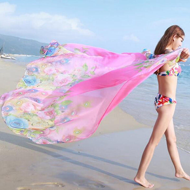 1dd38e3792 Women Chiffon Beach Bikini 150x200cm Cover Up Charms Shawl Wrap Scarf Pareo  Swimwear Sarong Dress Colored Scarves YYY9315-in Women's Scarves from  Apparel ...