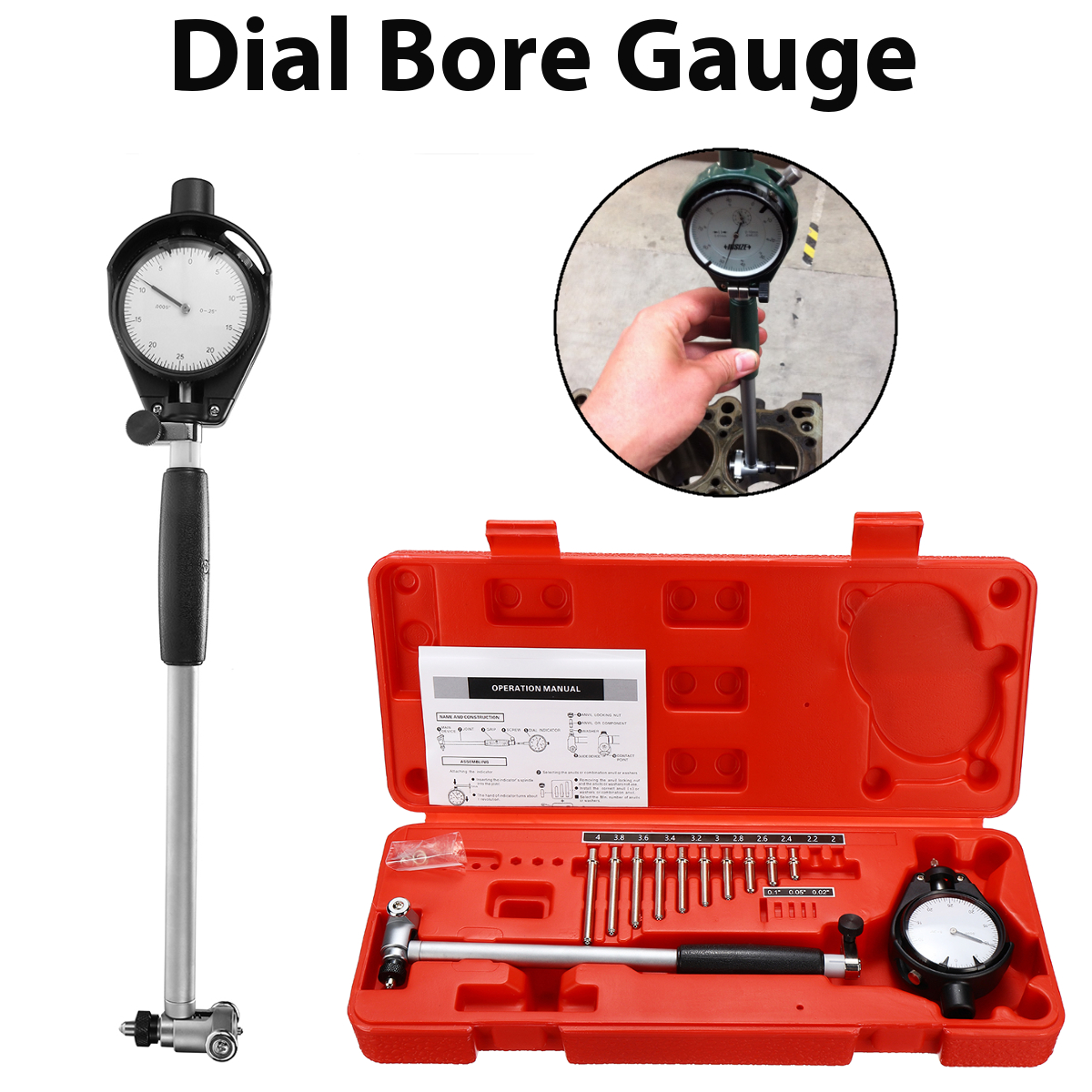цена на Movable/Changeable Probe Engine Cylinder 2-4'' Grad 0.0005'' Dial Bore Gauge Measure Indicator Resolution Steel+ABS Durability