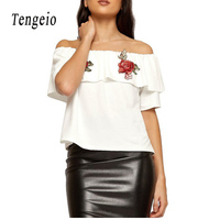 Tengeio New Fashion Summer Off The Shoulder Tops For Women Casual Slash Neck Floral Appliques Tee