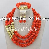 Amazing New Pink Coral Balls African Jewelry Sets Dubai Gold Wedding Jewelry Set Free Shipping ABJ565