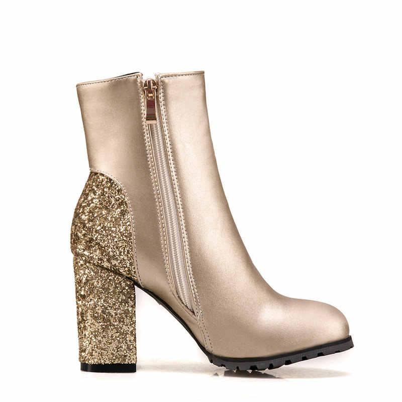 Kadın Kare Yüksek Topuk Yuvarlak Ayak yarım çizmeler Moda Yan Fermuar Elbise Çizmeler Kısa Peluş Kış Çizmeler Siyah Kırmızı Altın Gümüş
