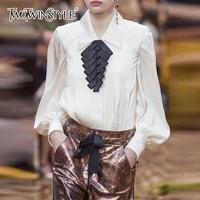 TWOTWINSTYLE Silk Shirt Blouse Female Big Size Lantern Long Sleeve Pleated Hem Women Tops Fashion OL Ladies Clothing 2018 Autumn